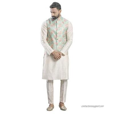 Elina fashionMen's Indian Cotton Kurta Pajama and Printed Nehru Jacket (Waistcoat) Indian Wedding Ethnic Diwali Puja Set