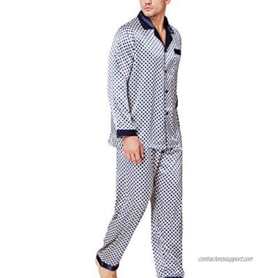 LONXU Mens Satin Pajamas Set Sleepwear Loungewear S~3XL Plus