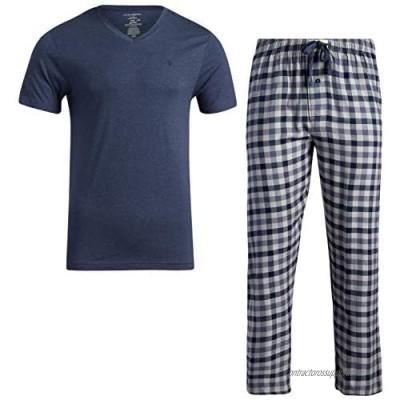 Lucky Brand Men's Pajama Set - Flannel Pajama Pants and Short Sleeve V-Neck Sleep Shirt