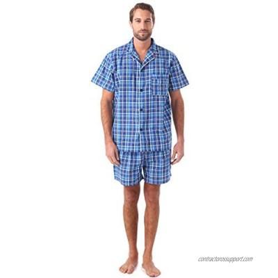 Men's Cotton Summer Pajamas Set Plaid Short Sleeve Knee-Length Sleepwear with Pocket Blue