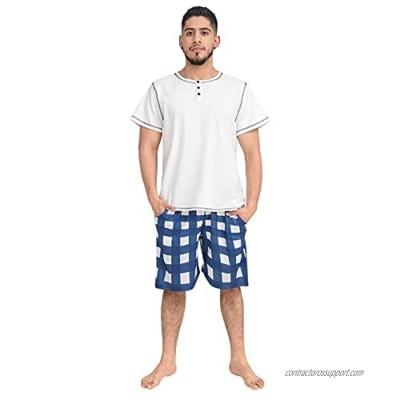 Mens Pajama Set Short Sleeve Summer Men's Pajamas Sets Short Mens Sleepwear Pjs Set Lightweight