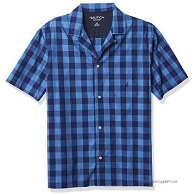 Nautica Men's Short Sleeve 100% Cotton Soft Woven Button Down Pajama Top