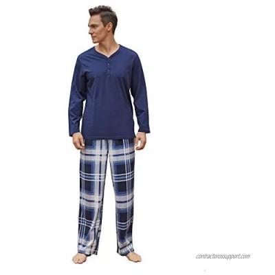 Vulcanodon Mens Cotton Pajama Set  Plaid Pajamas for Men Long Sleeve Sleepwear Warm Fleece Pjs Set with Pockets Soft