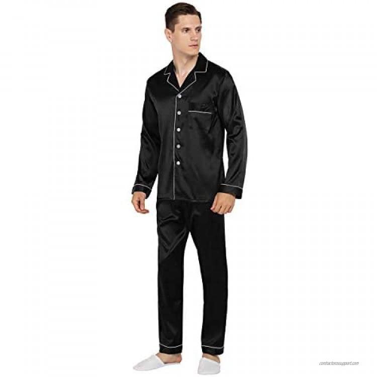 YIMANIE Mens Satin Pajamas Set Classic Sleepwear Loungewear