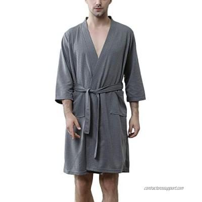Lu's Chic Men's Waffle Kimono Robe Lightweight Spa Bathrobe Pockets Turkish Hotel Nightgown