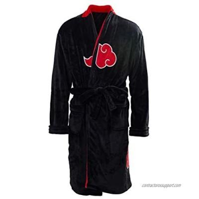 Mens Akatsuki Bathrobe Kimono Robe Uchiha Itachi Fleece Winter Lounge Collar Shawl Pajamas Sleepwear