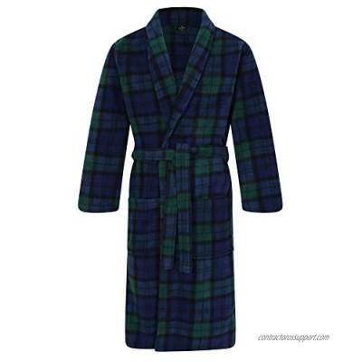 Men's Fleece Robe  Scottish Black Watch Tartan