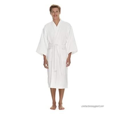 Men's Terry Cloth Bathrobe by Boca Terry  Cotton Spa Robes  Plush White Hotel Bath Robe  M/L & 2X