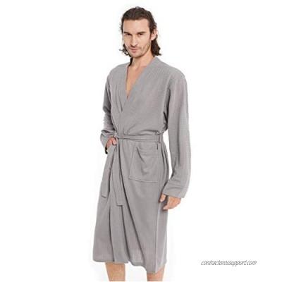 Men's Waffle Kimono Bathrobe Turkey Luxurious Premium Cotton Lightweight Spa Robe