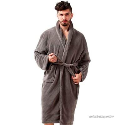 Pembrook Men's Robe - Soft Fleece – Kimono Hotel Spa Bathrobe - Adults Men Boys