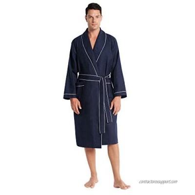 SIORO Kimono Waffle Robe for Men Lightweight cotton robe Spa cozy Soft Housecoat M-XXL