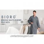 SIORO Kimono Waffle Robe for Men Lightweight Knit Bathrobe Spa Bath Soft Housecoat M-XXL