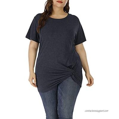 Allegrace Womens Plus Size Tunic Tops Twist Knot Tunics Short Sleeve Cozy Shirt