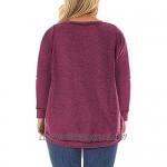 AURISSY Plus-Size Tops for Women Long Sleeve Side Split Shirts