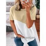 Bdcoco Women's Short Sleeve Crewneck Color Block Shirt Tops Loose Casual Tee T-Shirt