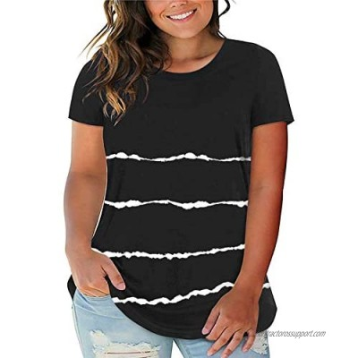 Diukia Women's Plus Size Stripe Color Block Round Neck T Shirts Summer Loose Casual Short Sleeve Tops 1X-5X