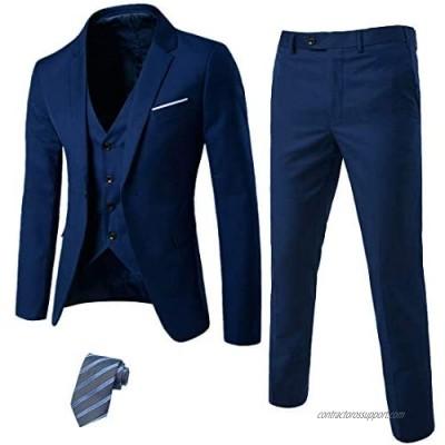 MrSure Men's 3 Piece Suit Blazer  Slim Fit Tux with One Button  Jacket Vest Pants & Tie Set for Party  Wedding and Business