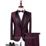 MY'S Mens 3-Piece Suit Shawl Lapel One Button Tuxedo Winter Fabric Slim Fit Premium Dinner Jacket Vest Pants & Tie Set