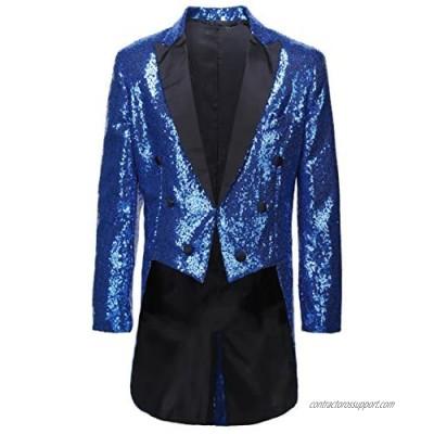 CARFFIV Mens Slim Fit Sequins Tailcoat Suit Jacket