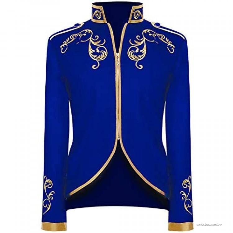 Crubelon Men's Court Fashion Prince Uniform Gold Embroidered Jacket Suit Jacket