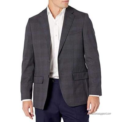 Haggar Men's Signature Plaid Tailored Fit Two-Button Flap Pocket Suit Separate Coat