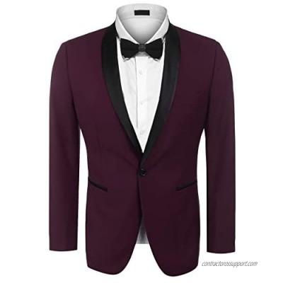 JINIDU Men's Modern Tuxedo Jacket One Button Casual Suit Blazer Jacket for Dinner  Party  Wedding  Prom