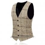 Men's 3-Piece Suit Plaid Slim Fit One Button Single-Breasted Wedding Blazer