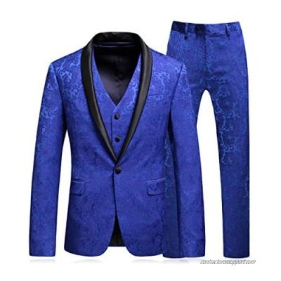 MOGU Mens Floral Jacquard Suits Royal Blue Luxury 3 Piece Blazer Jacket & Pants & Vest