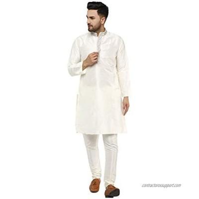 SKAVIJ Men's Tunic Art Silk Kurta Pajama Wedding Party Dress Set
