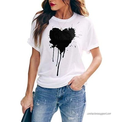 Blooming Jelly Womens Graphic Tees Short Sleeve Crew Neck Heart Print Casual T Shirts Tops