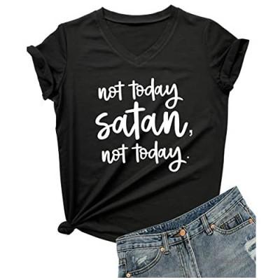 DANVOUY Women Not Today Satan V-Neck Graphic T-Shirt Casual Tops Tees