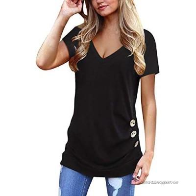 Jescakoo Summer Tops for Women Short Sleeve V Neck T Shirts Cute Fashion