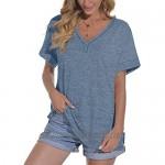 Jescakoo Womens T Shirts Button V Neck Roll Sleeve Side Split Summer Tops