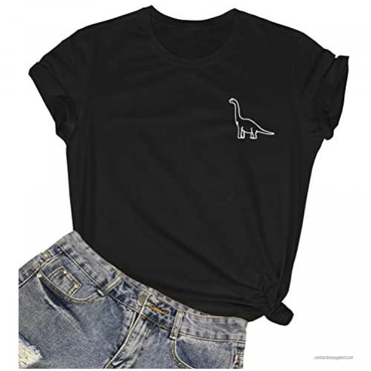 ROSEPARK Women Cute Dinosaur Graphic T-Shirts Teen Girls Funny Tees