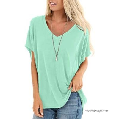SAMPEEL Tie Dye Shirts Women Summer Short Sleeve V Neck Flowy Dolman Tops Blue Pink L