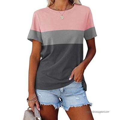 Vivitulip Women's Casual Short Sleeve T Shirts Color Block Crew Neck Tops Comfy Summer Tees