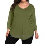 BELAROI Women 3/4 Sleeve Plus Size V-Neck Tunic Top Loose T Shirt with Pocket