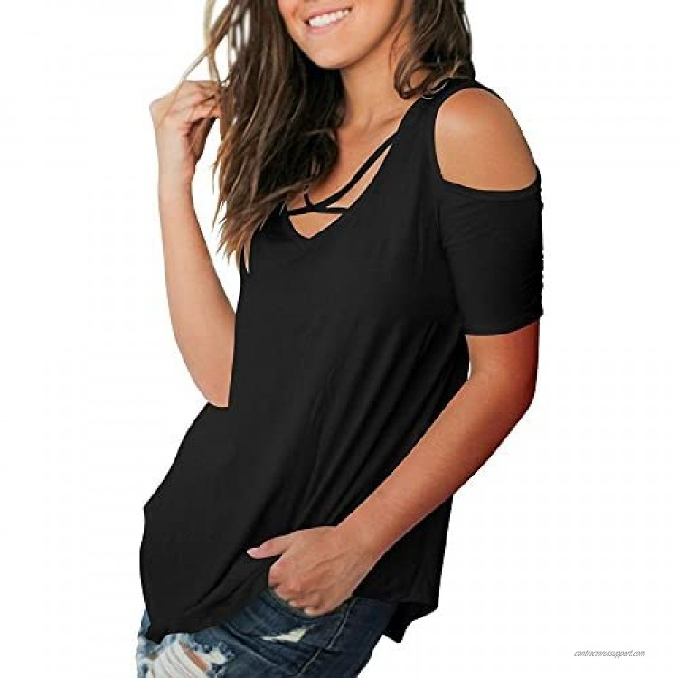 Cold Shoulder Tops Women Short Sleeve T Shirts V Neck Blouse Casual Criss Cross Tunic