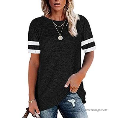 Dasivrry Women's Casual Short Sleeve T-Shirts Color Block Tunic Tops Loose Crewneck Tees(S-XXL)