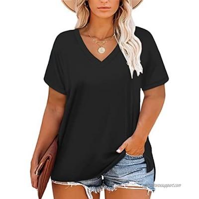 DOLNINE Womens-Plus-Size-Tops-Summer V Neck T Shirts Side Split Tunics Tees