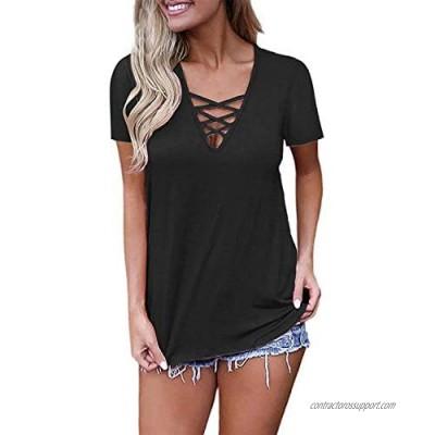 EZBELLE Women's Short Sleeve V Neck ShirtsCriss Cross Top Basic T Shirt