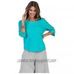 Focus Fashion Women's Cotton Voile Wave Embroidery Tunic Shirts-EC101