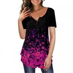 GSFANG Women Floral Tunic Tops V Neck Short Sleeve Button Up Blouse Casual Henley Shirts