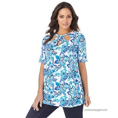 Jessica London Women's Plus Size Cutout Swing Tunic Long Shirt