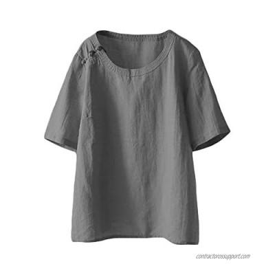 LaovanIn Women's Summer Linen Tunic Tops Casual Short Sleeve Shirts Blouse