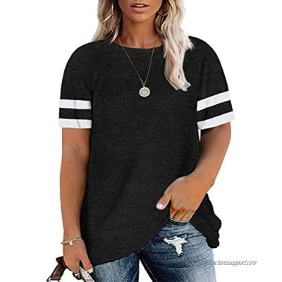 Soesdemo Women Plus Size Short Sleeve Tunic Tops Color Block Causal Loose Fit T Shirts Blouse M-4XL