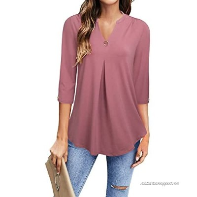 VALOLIA Women's Summer V Neck Blouse Tops 3/4 Sleeve Casual Workwear Loose Shirts