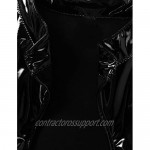 ACSUSS Womens Shiny Latex Mock Neck Sleeveless Front Keyhole Cut Out Vest Crop Top Clubwear