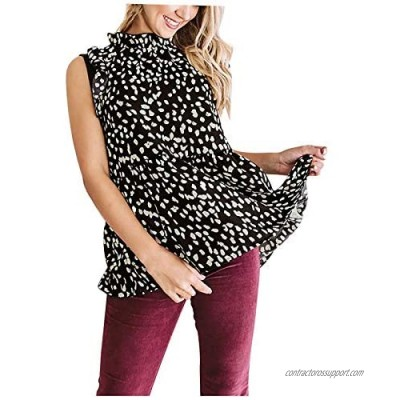 Blouse for Women Casual Loose Ruffle Sleeveless Turtleneck Solid Color Vest with Leggings Tops
