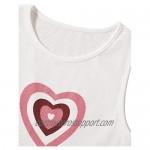 Floerns Women's Heart Print Sleeveless Round Neck Rib Knit Crop Tank Top